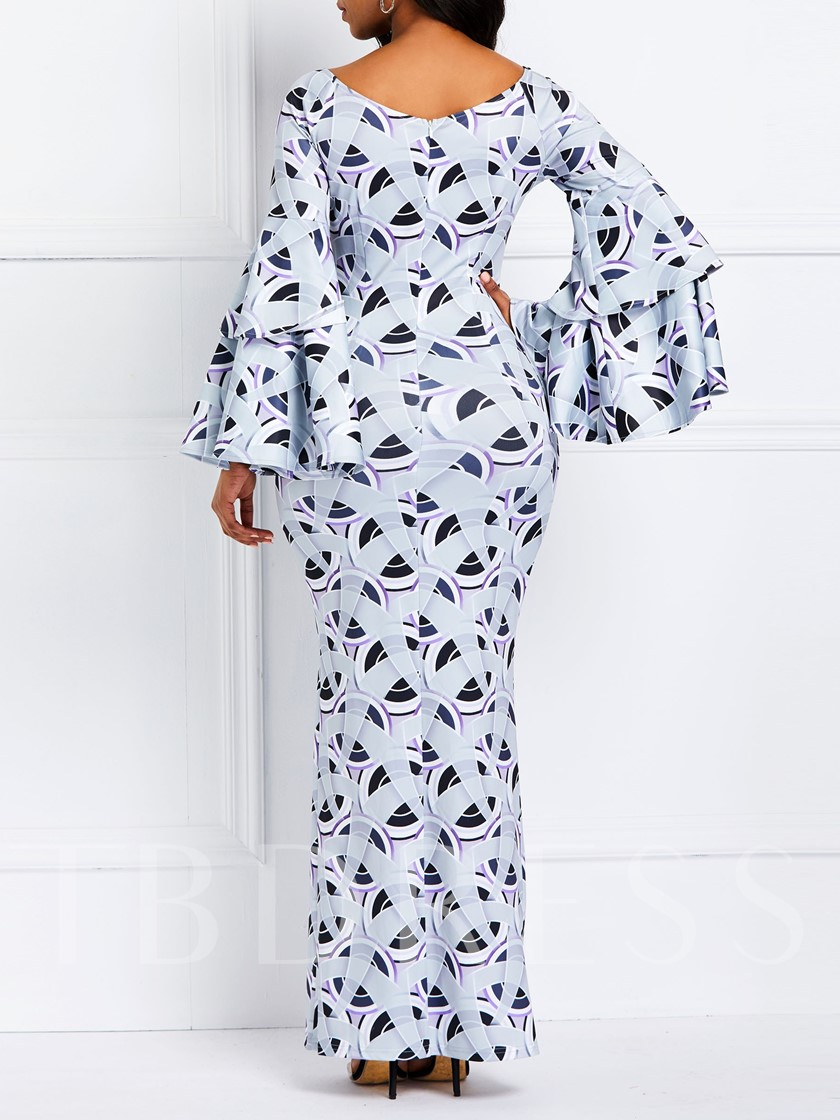 Print Long Sleeve V-Neck Fall Women's Maxi Dress