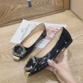Round Toe Buckle Slip-On Block Heel Low-Cut Upper Rhinestone Flats