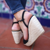 Buckle Wedge Heel Open Toe Vintage Espadrille Sandals