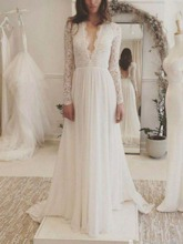Deep V-Neck Backless Lace Wedding Dress with Long Sleeves