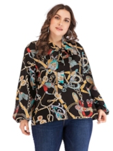 Scarf Chain Print Lantern Sleeve Plus Size Women's Blouse