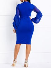 See-Through Patchwork Lantern Sleeve Pullover Bodycon Dress