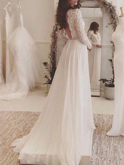 Deep V-Neck Backless Lace Wedding Dress with Long Sleeves Deep V-Neck Backless Lace Wedding Dress with Long Sleeves