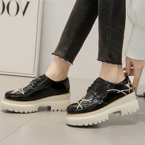Round Toe Platform Chunky Heel Lace-Up Women's Sneaker