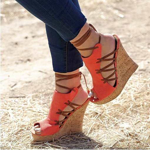 Lace-Up Peep Toe Wedge Heel Vintage Espadrille Sandals