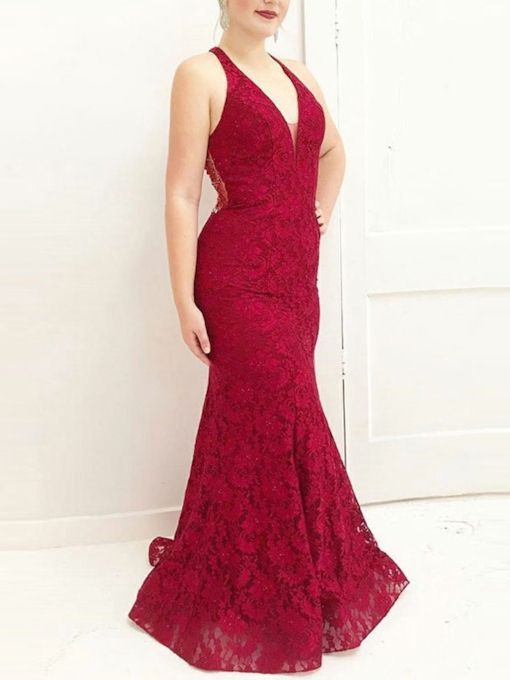 V-Neck Floor-Length Trumpet Beading Evening Dress