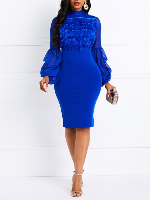 See-Through Stretchy Lantern Sleeve Women's Bodycon Dress