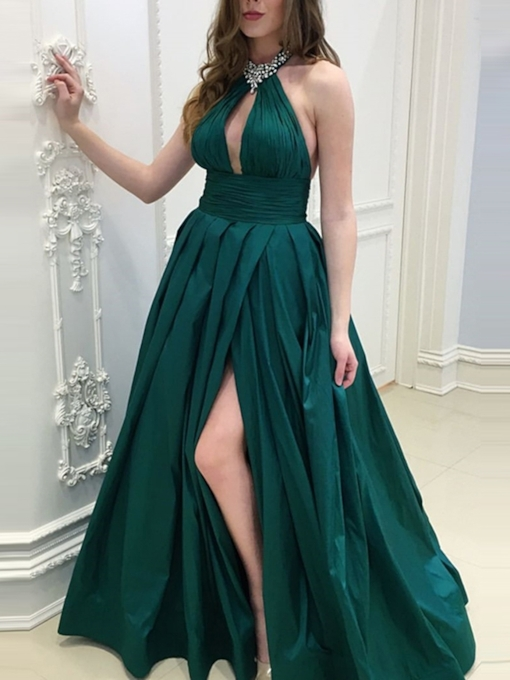 Pleats Beading Halter Split-Front Prom Dress 2019