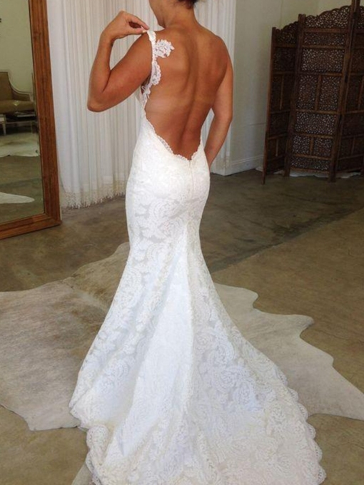 Mermaid Spaghetti Straps Backless Lace Wedding Dress