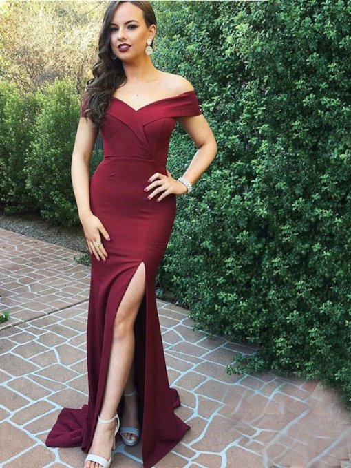 Off-The-Shoulder Floor-Length Sheath Split-Front Evening Dress
