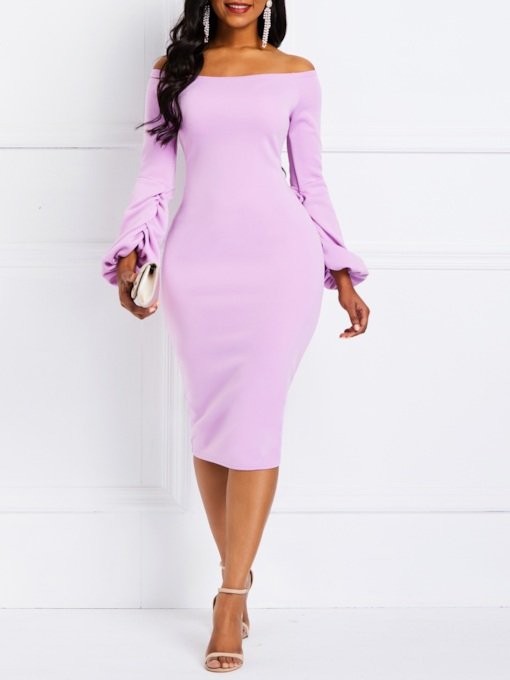 Long Sleeve Plain Off Shoulder Women's Bodycon Dress