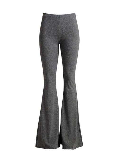 Plain Slim Bellbottoms Women's Casual Pants