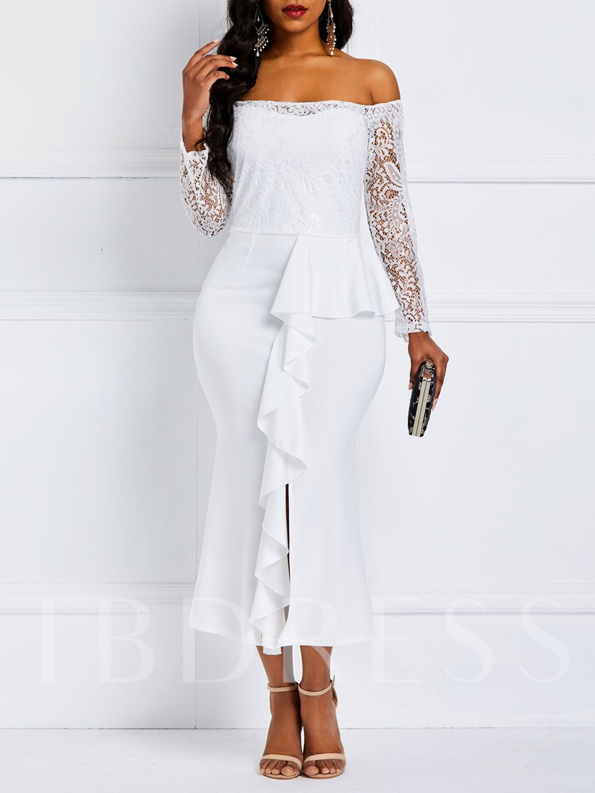 Long Sleeve Asymmetric Slash Neck Women's Maxi Dress