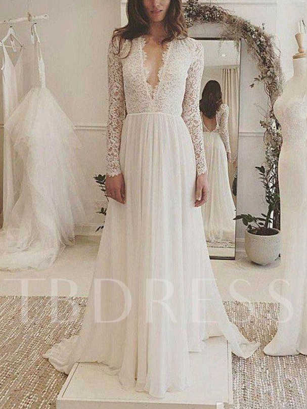 V-Neck Backless Lace Wedding Dress with Long Sleeve