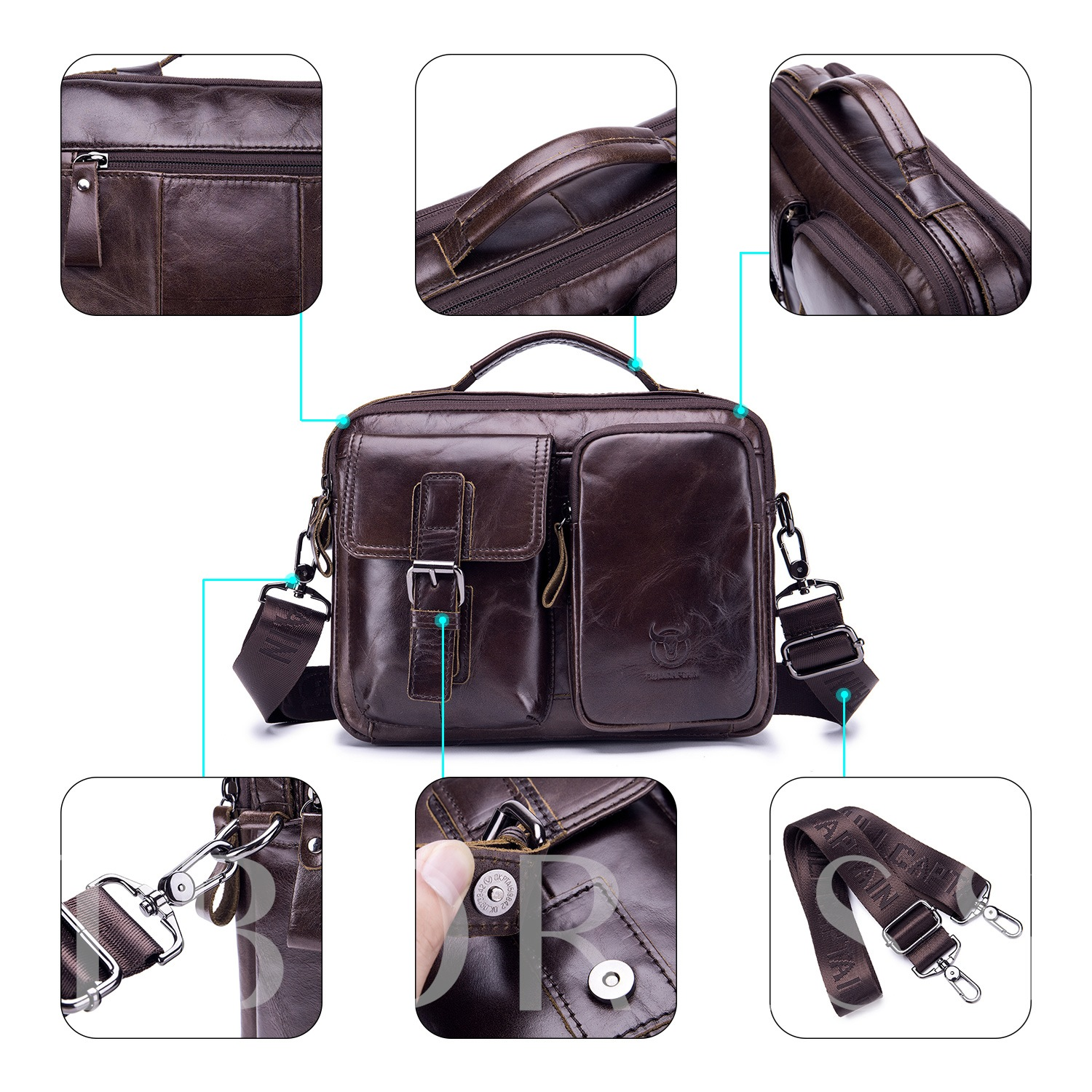 European Plain Leather Rectangle Crossbody Bags