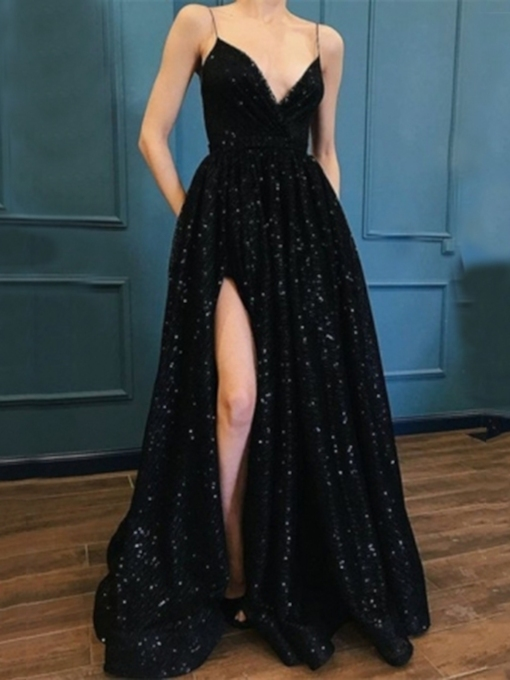 Spaghetti Straps Lace Black Evening Dress