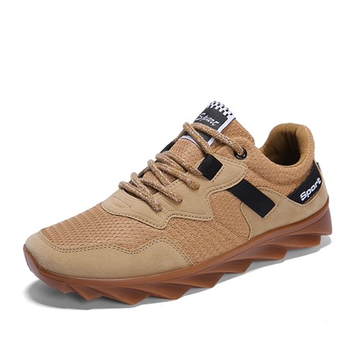 Lace-Up Low-Cut Upper Flat With Western Mesh Men's Sneakers