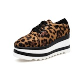 Lace-Up Square Toe Platform Low-Cut Upper Leopard Print Sneakers