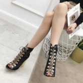 Back Zip Patchwork Chunky Heel Peep Toe Ankle Boots