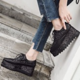 Platform Wedge Heel Square Toe Lace-Up Glitter Women's Sneaker