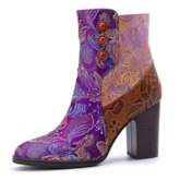 Hand Painted Side Zipper Chunky Heel Customized Vintage Ankle Boots