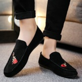 Flat Heel Floral Embroidered Slip-On Round Toe Men's Loafers