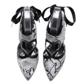 Snake Print Lace-Up Strappy Pointed Toe Stiletto Heel Sandals