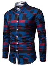 Print Geometric Lapel Casual Slim Men's Shirt