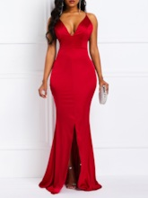 Split Sleeveless V-Neck Mermaid Women's Maxi Dress