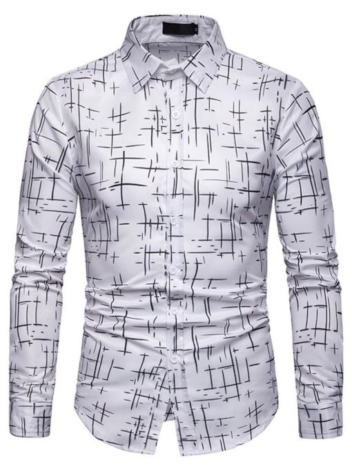 Print Casual Lapel Single-Breasted Men's Shirt
