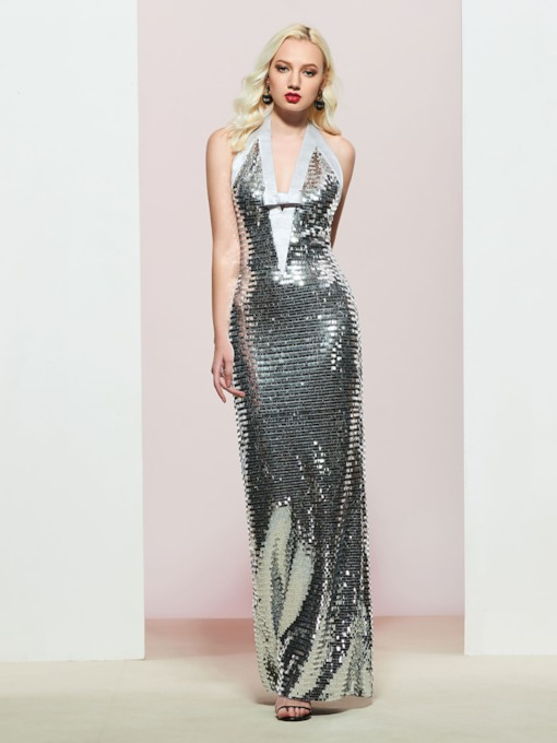 Sheath Halter Sequins Reflective Evening Dress