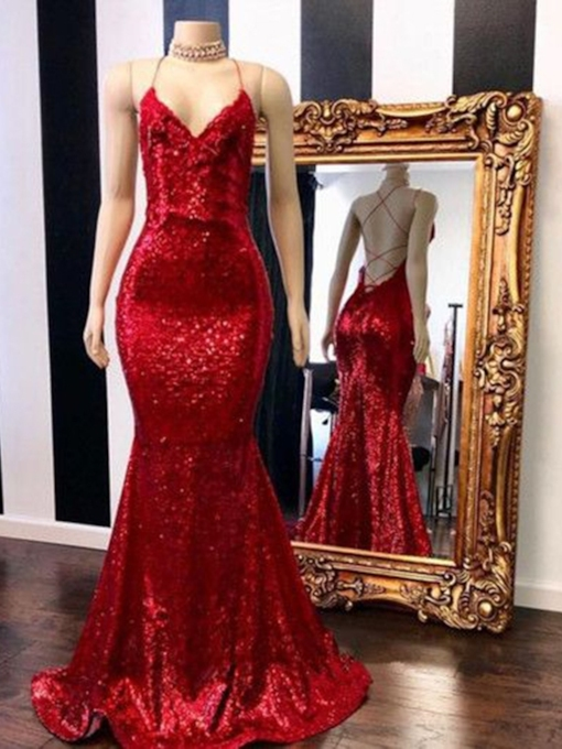 Spaghetti Straps Mermaid Red Sequins Evening Dress