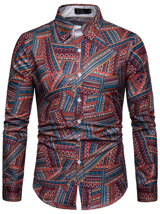 Print Ethnic Lapel Single-Breasted Men's Shirt