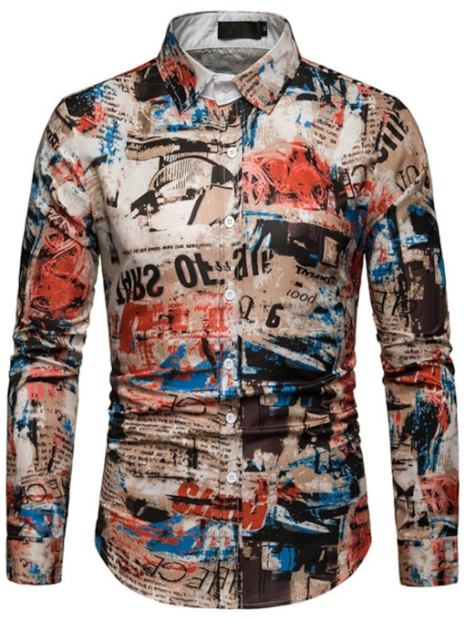 Print Lapel Casual Single-Breasted Men's Shirt