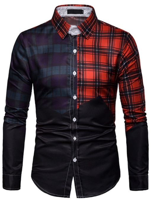 Casual Color Block Lapel Print Single-Breasted Men's Shirt