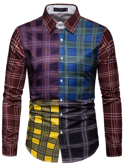 Plaid Print Casual Lapel Color Block Men's Shirt