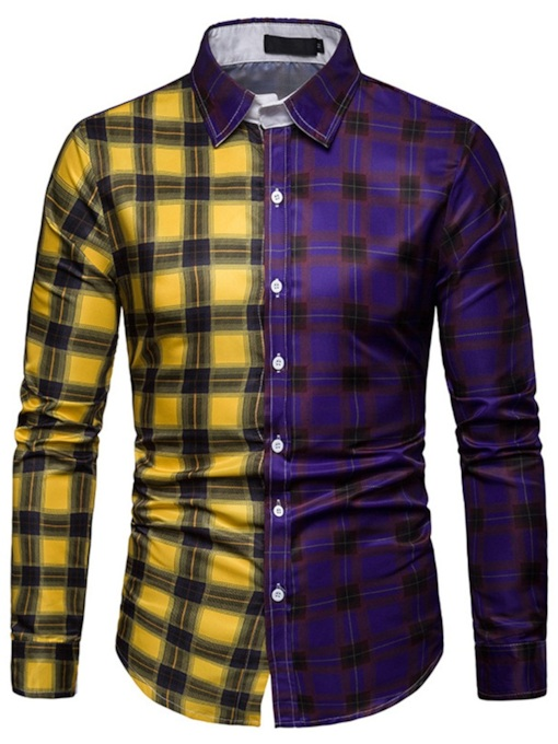 Lapel Print Casual Color Block Single-Breasted Men's Shirt