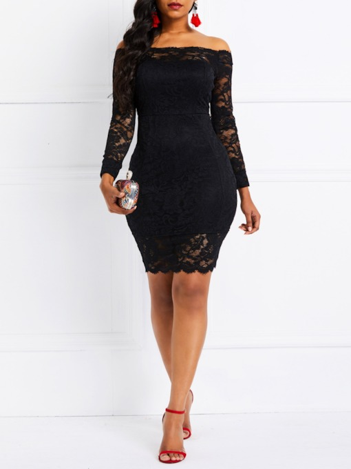 Off Shoulder Nine Points Sleeve Hollow Lace Women's Day Dress
