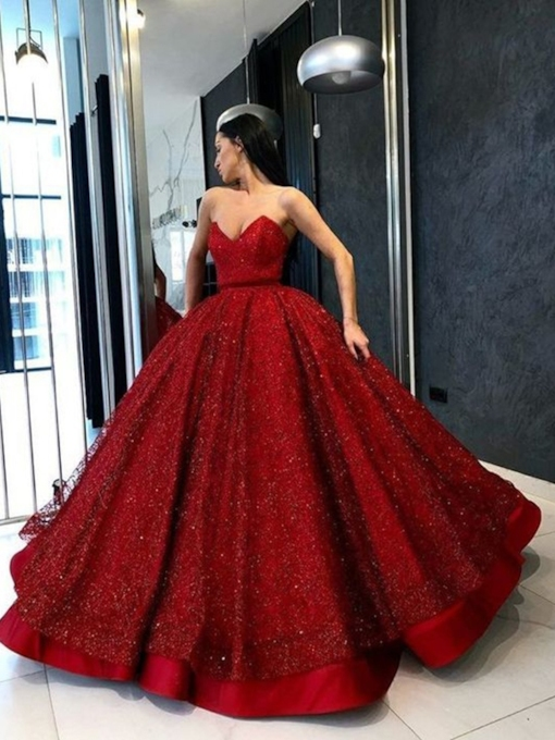 Sweetheart Ball Gown Red Sequins Evening Dress
