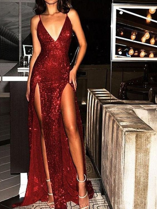 Sequins Sheath Floor-Length V-Neck Formal Evening Dress 2019
