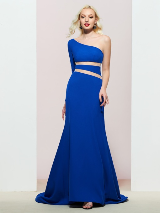 Floor-Length Trumpet Long Sleeves Evening Dress
