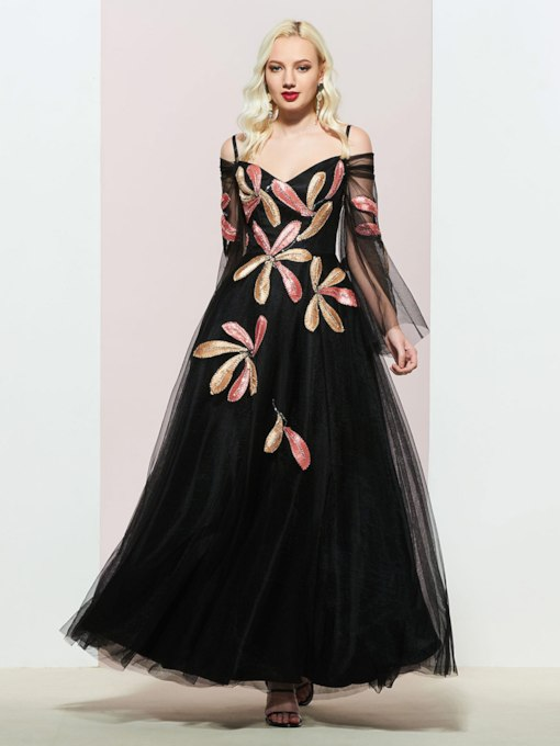 Sequins Appliques Long Sleeves Evening Dress 2019