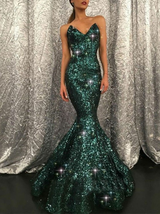 Mermaid Sequins Formal Evening Dress 2019