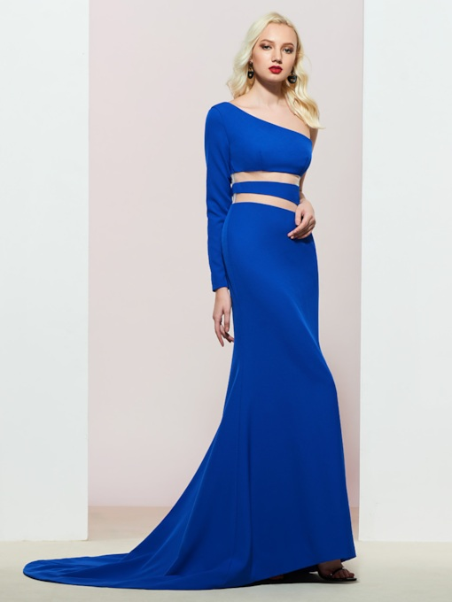 One Shoulder Mermaid Long Sleeve Evening Dress