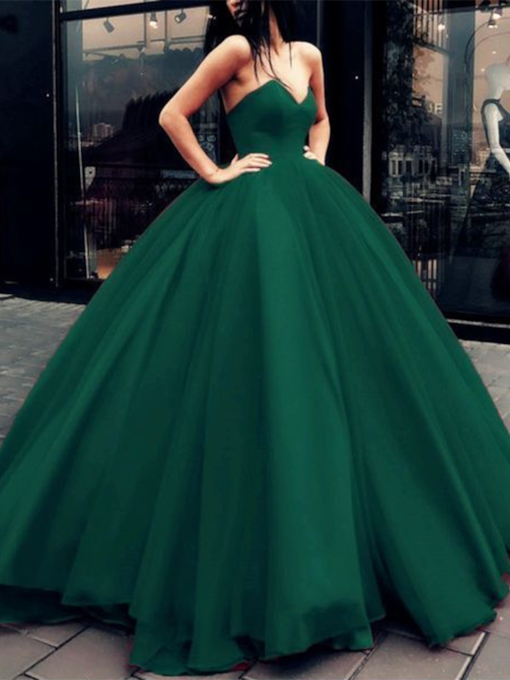 V-Neck Floor-Length Sleeveless Ball Gown Evening Dress