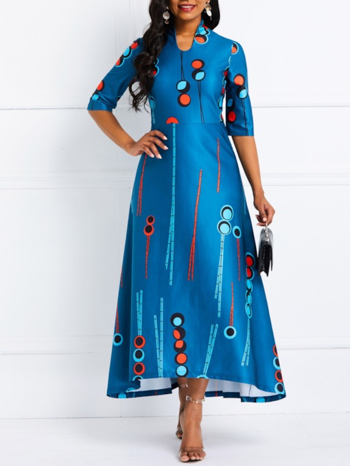 Geometric Prints Color Block Women's Maxi Dress
