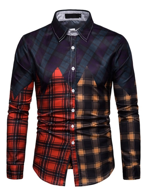 Casual Print Plaid Lapel Slim Men's Shirt