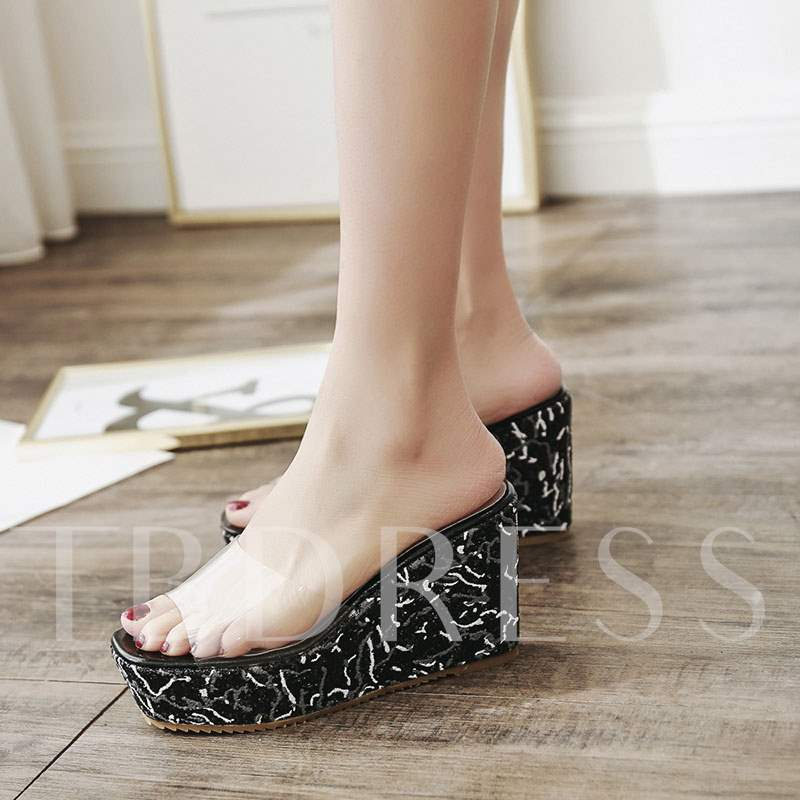 Platform Wedge Heel Slip-On Casual Women's Slippers