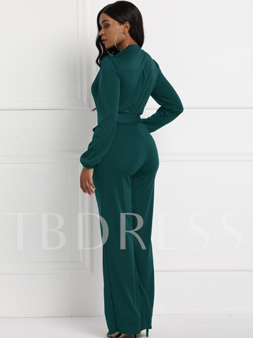 Casual Full Length Lace-Up Slim Women's Jumpsuits