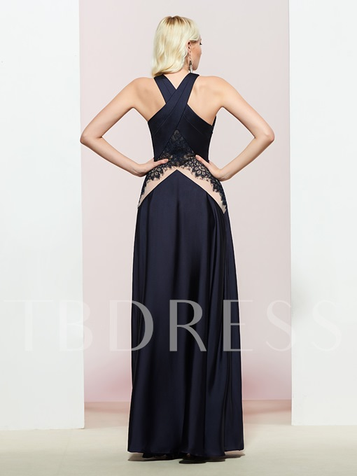 A-Line Halter Sleeveless Floor-Length Prom Dress
